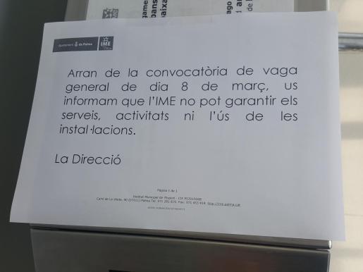 Imagen del cartel que informa de la huelga del 8-M.