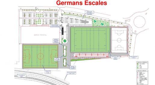 Plano del proyecto del campo de rugby.