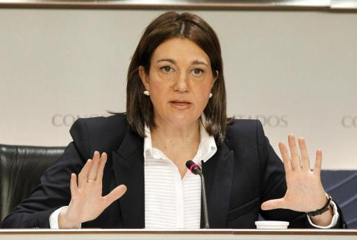 Soraya Rodríguez durante una rueda de prensa .