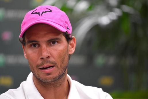 Rafael Nadal, durante su comparecencia ante los medios en Indian Wells.