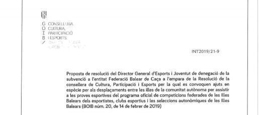 Imagen de la resolución de denegación de la ayuda por parte del Govern.