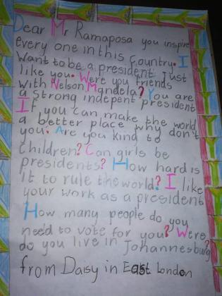 La carta de Daisy ha mandado al presidente de Sudáfrica.