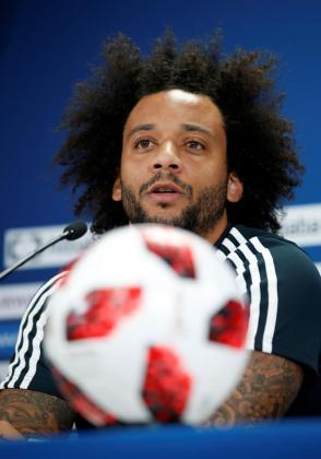 El defensa brasileño del Real Madrid, Marcelo Vieira, durante una rueda de prensa.