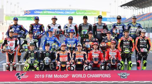Imagen de los pilotos de la parrilla de MotoGP, con los mallorquines Jorge Lorenzo y Joan Mir entre ellos.