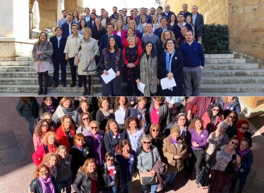 PP y PSOE se hacen fotos por el Día de la Mujer.