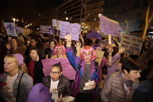 Una imagen de la manifestación que tuvo lugar este viernes en Palma.