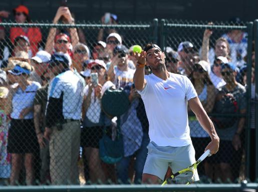 Imagen de Rafael Nadal durante un entrenamiento previo a su estreno en el Masters 1000 de Indian Wells.