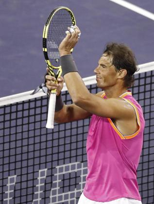 Rafael Nadal celebra su victoria sobre Donaldson en el Masters 1000 de Indian Wells.