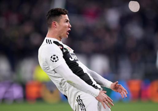 Cristiano Ronaldo imitó a Simeone llevándose las manos a la zona genital tras la victoria de la Juventus ante el Atlético de Madrid.