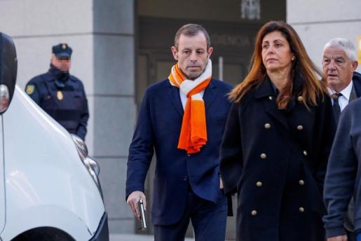 El expresidente del Fútbol Club Barcelona Sandro Rosell, a su llegada a la Audiencia Nacional en Madrid.