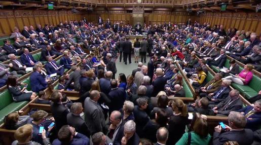 Vista del Parlamento británico tras la votación.