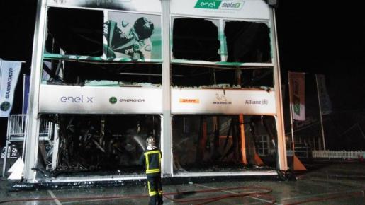 Imagen del montaje del Mundial de MotoE tras el incendio.