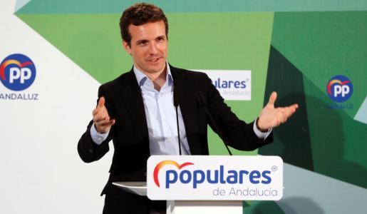 El presidente del PP, Pablo Casado, durante una comparecencia pública.