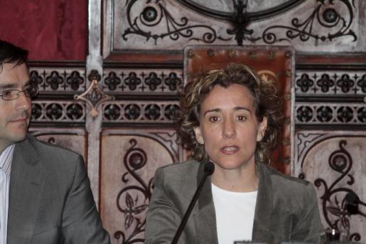 Aina Calvo, durante un pleno del Ajuntament.