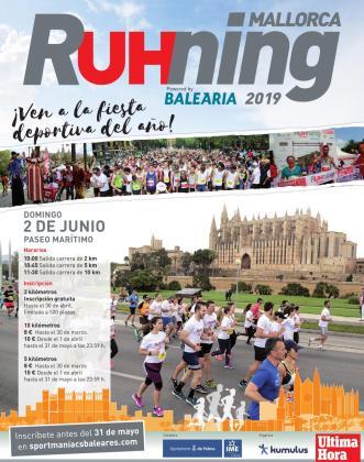 Cartel de la Mallorca RUHning, una prueba atlética para disfrutar en familia.