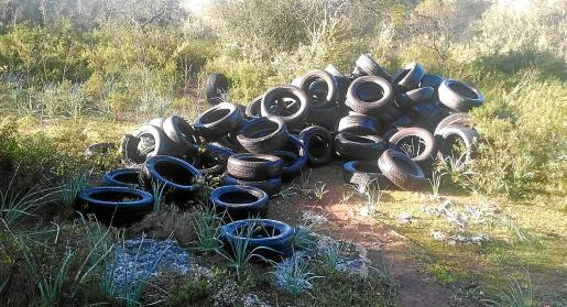 Un vertido ilegal de neumáticos en sa Comuna, una zona protegida, fue investigado por el Seprona.