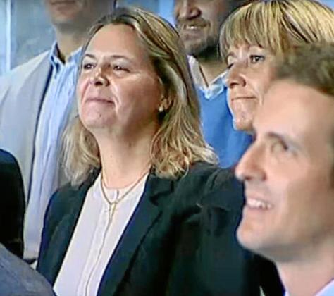 Maria Salom, junto a Pablo Casado, este sábado, durante la presentación de candidatos  en Madrid.