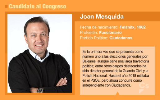 Joan Mesquida es el candidato de Ciudadanos al Congreso de los Diputados.