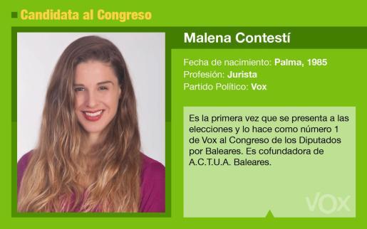 Malena Contestí es la candidata de Vox al Congreso por Baleares.