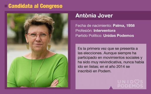 Antònia Jover es la candidata de Unidas Podemos al Congreso por Baleares.