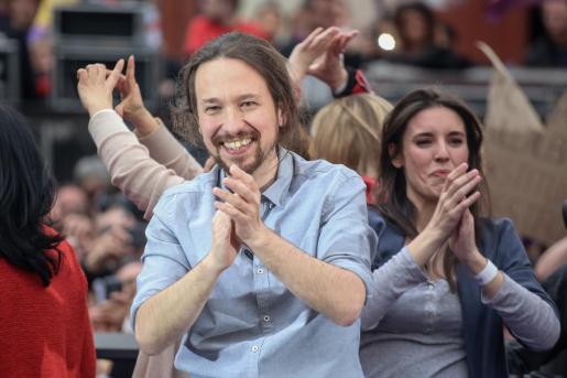 El secretario general de Podemos, Pablo Iglesias, protagoniza el acto de precampaña de la formación en Madrid.