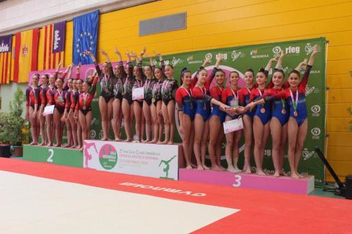 Imagen del podio de la Tercera División de la Liga Iberdrola de gimnasia artística femenina.