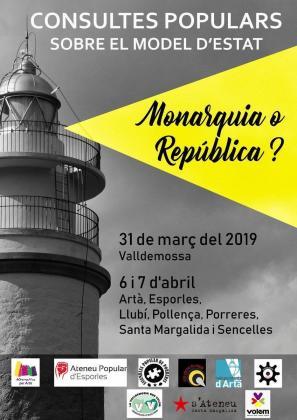 Cartel anunciador de la consulta popular sobre república o monarquía.