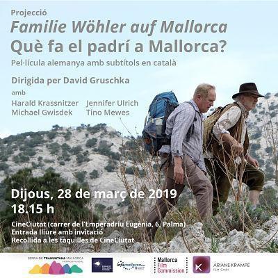 Cartel de la proyección 'Què fa el padrí a Mallorca?'.