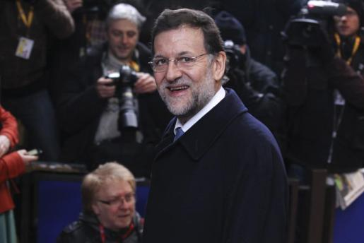 El presidente del Gobierno español, Mariano Rajoy, a su llegada a la cumbre de jefes de Estado y Gobierno de la Unión Europea que se celebra en Bruselas.
