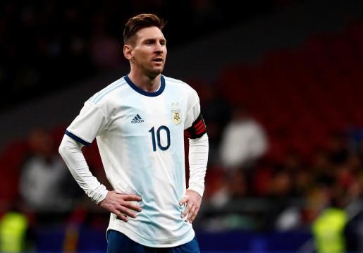 Leo Messi con un partido de la selección argentina.