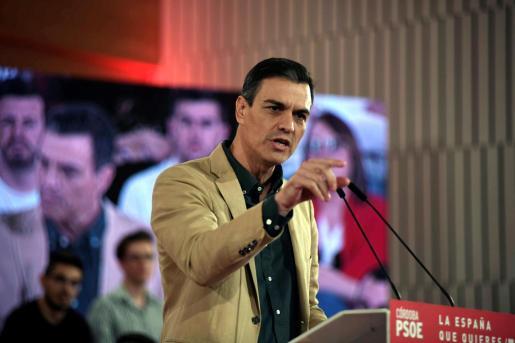 El secretario general del PSOE y presidente del Gobierno, Pedro Sánchez, en un acto en Córdoba celebrado este sábado.