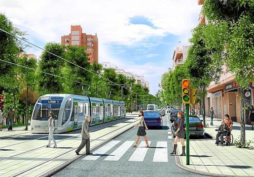 Recreación virtual del tranvía de Palma a su paso por la calle de Benito Pérez Galdós.