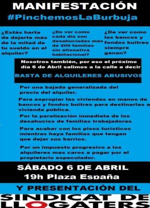 Cartel de la convocatoria del Sindicat de Llogaters de Mallorca.