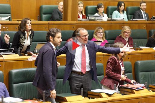Los parlamentarios del PP, Alfonso Alonso y Borja Sémper, increpan al parlamentario de EH Bildu Julen Arsuaga.