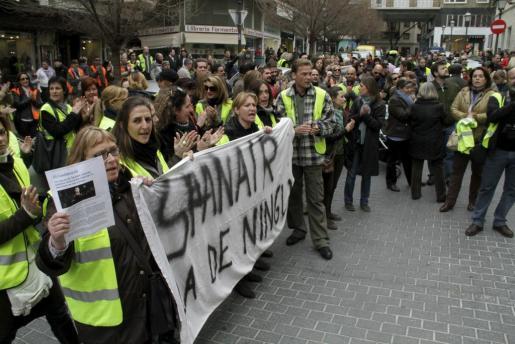 Imagen de la concentración celebrada en Palma esta mañana.