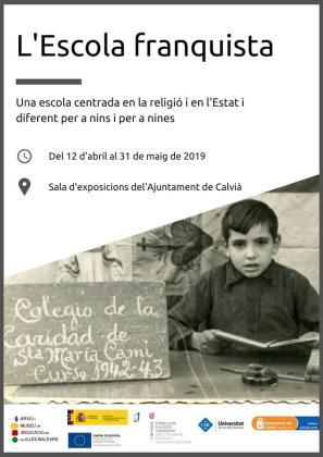 Cartel de la exposición 'La escuela franquista', visitable en la Sala d'Actes del Ajuntament de Calvià.