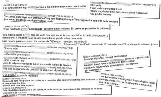 Imagen de algunos de los wasaps del fiscal Subirán, el Grupo de Blanqueo y el juez Penalva.