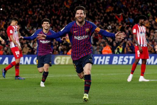 Leo Messi celebra el segundo gol del Barcelona ante el Atlético