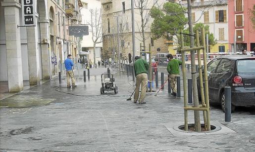 La peatonalización de Porta Santa Catalina fue una de las obras realizadas con cargo al 'Plan E' en Palma.