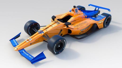 Imagen del McLaren diseñado para que Fernando Alonso compita en Indianápolis.