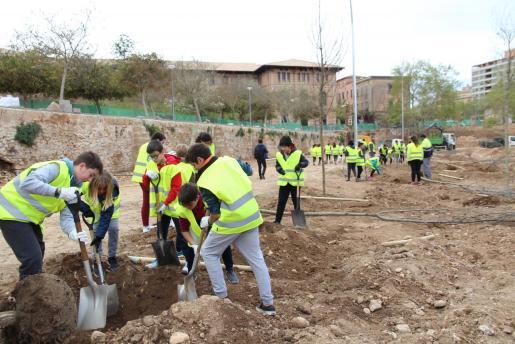 Alumnos de los Institutos Joan Alcover y Ramon Llull plantando árboles en el canódromo de Palma.