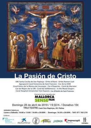 Cartel del concierto coral 'La Pasión de Cristo' en Trui Teatre a beneficio de Mallorca Sense Fam.