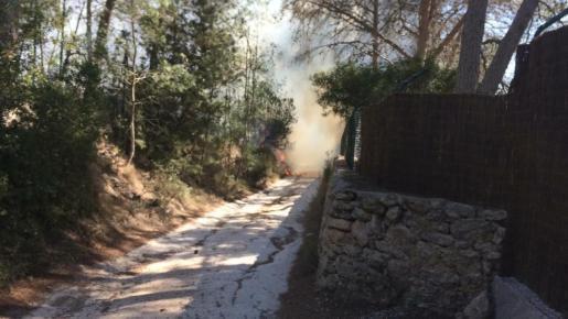 El incendio se ha declarado en torno a las 16.00 horas de este martes en la zona de cas Vicari.