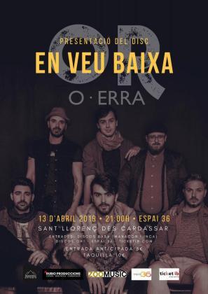 Cartel del concierto de OR en el que presentarán su nuevo trabajo, 'En veu baixa'