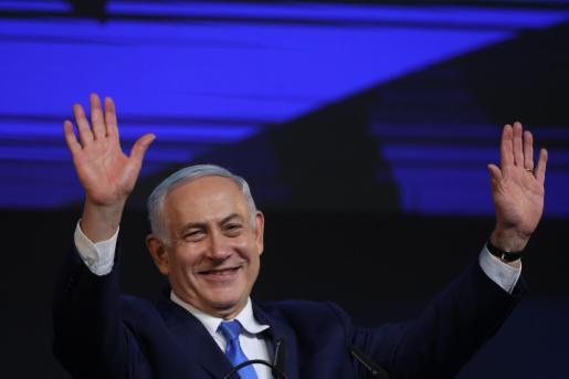 El primer ministro de Israel y jefe del partido Likud, Benjamin Netanyahu, celebrando la victoria en las elecciones.