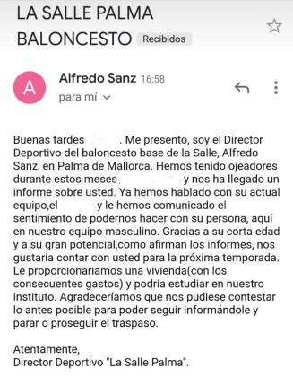 Imagen del correo electrónico del falso director deportivo de La Salle.