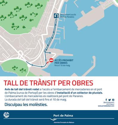 Cortado el acceso del tráfico rodado al embarque de mercancías de la curva de Portopí.