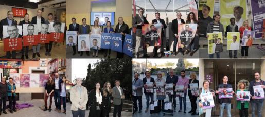Los partidos políticos de Baleares empiezan la campaña electoral con la tradicional pegada de carteles.