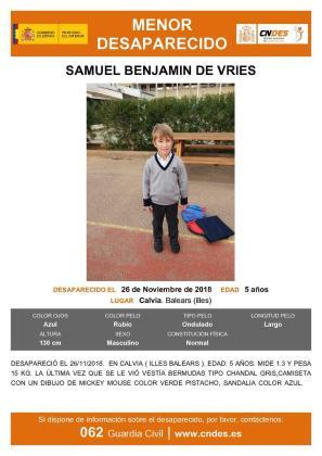 Aviso del niño desaparecido en Calvià.