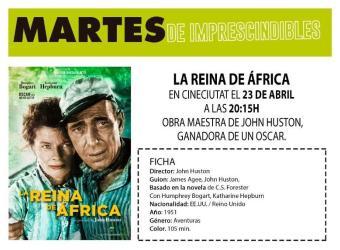 Martes de imprescindibles en CineCiutat con la proyección de 'La Reina de África'